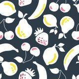 Fruits seamless vector pattern dark background vector illustration