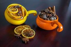 Fruits secs dans des tasses colorées Image libre de droits