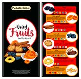 Fruits secs, ensemble de bannière de faits de nutrition de superfood illustration stock