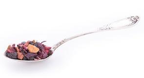 Fruits secs et baies sauvages dans la cuillère d'argent Photographie stock libre de droits