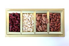 Fruits secs et boîte-cadeau d'écrous Image stock