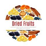 Fruits secs, raisin sec, label d'abricot pour la conception de nourriture illustration libre de droits