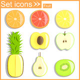 Fruits sectional, vector illustration Stock Photos