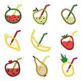 Fruits in the sectional view with straw stock illustration