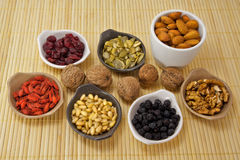 Fruits and seeds collection. Different fruits and seeds for your healthy diet Stock Images