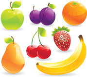 Fruits set. Fruit icons set. Glossy  set Stock Photography