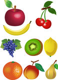 Fruits set. Set of fruits on white background Stock Photos