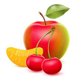 Fruits set - apple, tangerine segment, cherry. Royalty Free Stock Photos