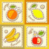 Fruits. set cards Stock Images