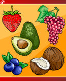 Fruits set cartoon illustration Stock Photography
