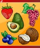 Fruits set cartoon illustration Stock Photography