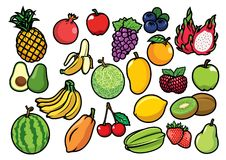 Fruits set collection Stock Photography