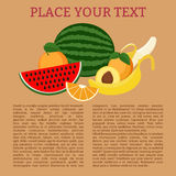 Fruits. Set of fruit with text template and sign Stock Photos