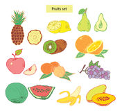 Fruits set hand drawn illustrations. Isolated on white stock illustration