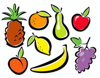 Fruits set of icons Stock Photos