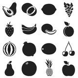 Fruits set icons in black style. Big collection fruits vector symbol stock illustration Royalty Free Stock Image