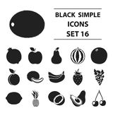 Fruits set icons in black style. Big collection fruits vector symbol stock illustration. Fruits set icons in black style. Big collection fruits vector symbol Stock Images