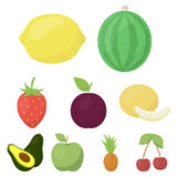 Fruits set icons in cartoon style. Big collection of fruits vector symbol stock illustration Royalty Free Stock Photo