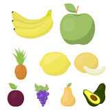 Fruits set icons in cartoon style. Big collection of fruits vector symbol stock illustration Royalty Free Stock Photography