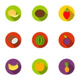 Fruits set icons in flat style. Big collection of fruits vector symbol stock illustration Stock Images