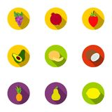 Fruits set icons in flat style. Big collection of fruits vector symbol stock illustration Stock Photos