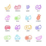 Fruits set icons. Fruit set in a flat style icons of different color on a white background isolated vector illustration