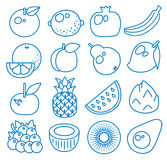 Fruits. Set of line icons. Vector illustration. Apple lemon, pomegranate banana, orange peach, pear mango mandarin, pineapple, watermelon pitaya, grape coconut Stock Image