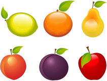 Fruits. Set of six different fruits Royalty Free Stock Photos
