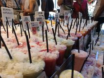 Fruits shake in la bucaria marketplace Royalty Free Stock Images