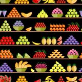 Fruits on shelves, seamless pattern for your Royalty Free Stock Photo