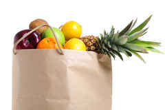 Fruits in shopping bag Royalty Free Stock Photos