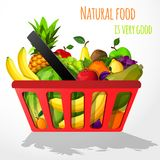 Fruits in shopping basket poster Royalty Free Stock Image