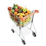 Fruits in a shopping cart. Stock Photos