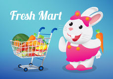 Fruits on a shopping cart with white rabbit holding a carrot Stock Photos