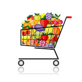 Fruits in shopping cart for your design Royalty Free Stock Photography