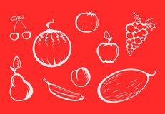 Fruits silhouettes. White fruit silhouettes on a red background Stock Images