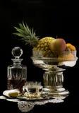 Fruits in a silver bowl Stock Photos