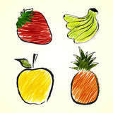 Fruits sketch drawings Royalty Free Stock Photography