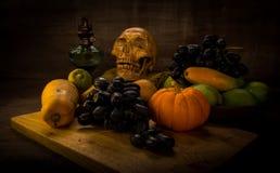 Fruits and skull Stock Photo