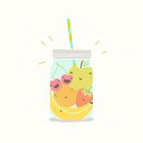 Fruits in smoothie jar. Vector EPS 10 hand drawn illustration Stock Photos