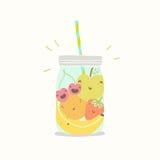 Fruits in smoothie jar. Vector EPS 10 hand drawn illustration royalty free illustration