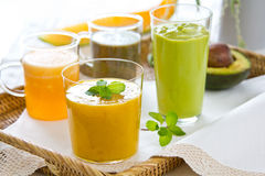 Fruits smoothie [ Mango,Avocado,Melon,Dragon fruit Royalty Free Stock Images