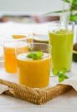 Fruits smoothie [ Mango,Avocado,Melon,Dragon fruit. Varieties of fresh Fruits smoothie                [Mango,Avocado,Melon,Dragon fruit Stock Photo