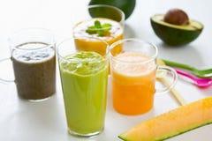 Fruits smoothie [ Mango,Avocado,Melon,Dragon fruit. Varieties of fresh Fruits smoothie                [Mango,Avocado,Melon,Dragon fruit Royalty Free Stock Photo