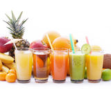 Fruits smoothies, summer cool drinks top view macro Stock Photo