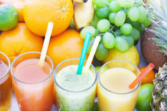 Fruits smoothies, summer cool drinks top view macro. Selective focus, soft light stock photo