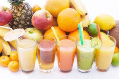 Fruits smoothies, summer cool drinks top view macro Royalty Free Stock Image