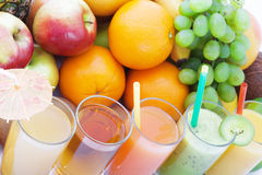 Fruits smoothies, summer cool drinks top view macro. Selective focus, soft light royalty free stock image