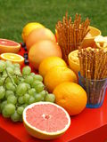 Fruits and snacks Royalty Free Stock Photos