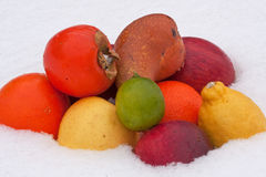 Fruits on the snow Stock Photo
